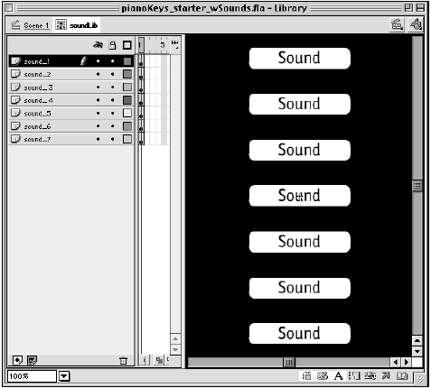The soundLib timeline contains all seven sounds as individual instances