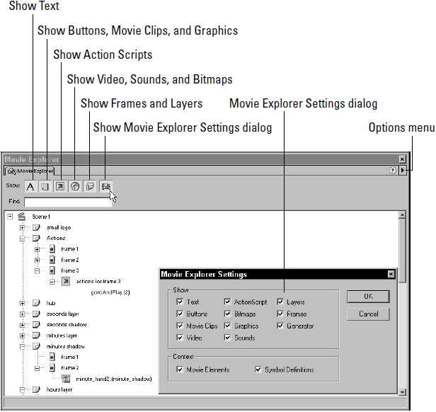 The Movie Explorer displays the file structure for Jake Smith's Flash Clock