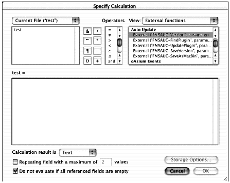 A listing of FileMaker's out-of-the-box external functions.