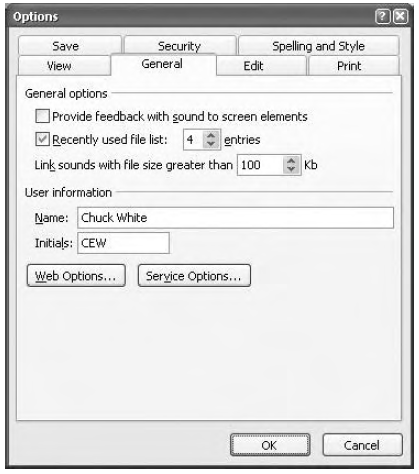 The General Options tab in PowerPoint's Optionsdialog box.