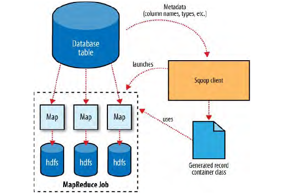 how Sqoop interacts with both the database source and Hadoop
