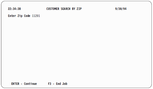 'Customer Search by Zip' prompt screen