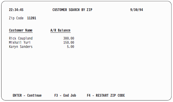 'Customer Search by Zip' screen