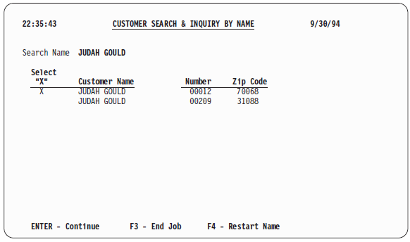 Customer Search and Inquiry by Name' information screen