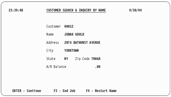 Customer Search and Inquiry by Name' detailed information screen