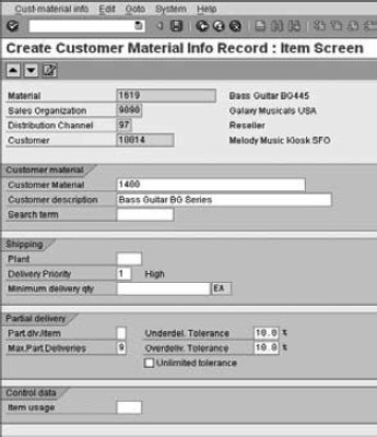 Creating a customer–material info record, item screen (for setting defaults)