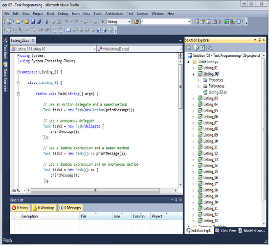 The example code for Visual Studio 2010