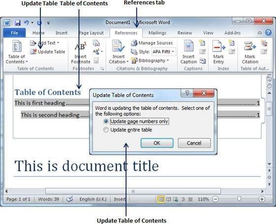 Table of Contents in Word 2010 in Microsoft Word Tutorial